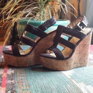 Boho Suede & Cork Wedge Sandal